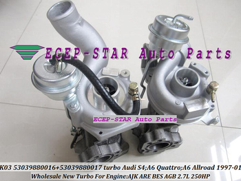 K03  53039880016 53039880017 53039700016 53039700017 Turbocharger For AUDI S4 A6 Allroad;A6 Qua-ttro 2.7L AJK ARE BES AGB 250HP
