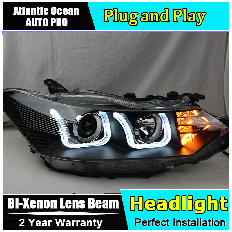 car styling For Toyota Vios headlights U angel eyes 2014 For Toyota Vios Bi-xenon Double lens HID KIT special car trunk mats for toyota all models corolla camry rav4 auris prius yalis avensis 2014 accessories car styling auto