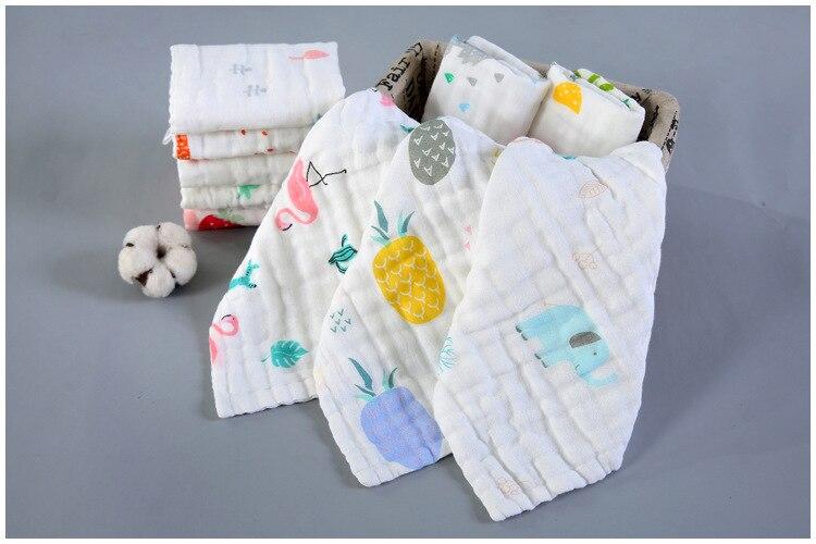 Gauze Muslin Soft Baby Bibs Kids Face Towel Cloth Hand Saliva Towel Wipes Square