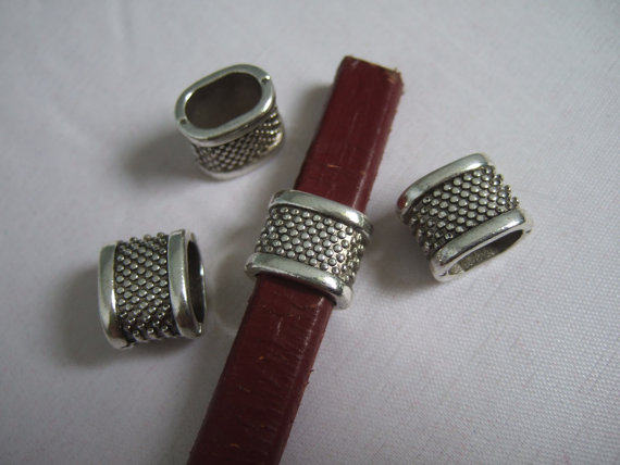 For 10x5mm leather Antique sliver Slider bracelet findings Licorice Leather Components D-2-6