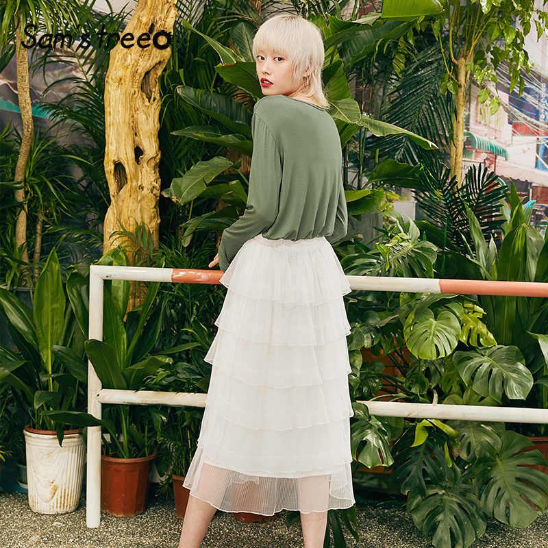 Samstree zieleń wojskowa jednolity minimalistyczny styl koszule damskie 2019 jesień biały pełne rękawem czystej Oversize biuro panie topy