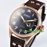42mm DEBERT Blue Dial Brown Rivets Leather Strap Sapphire Glass Rosegold Case Power Reserve Mens Automatic Watch