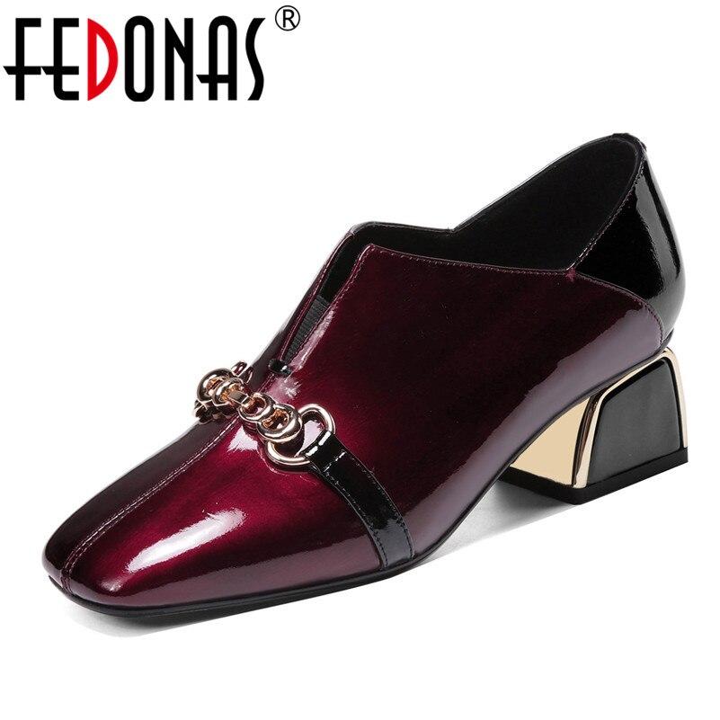 FEDONAS Strangle High Heels Square Toe Retro Women Pumps Spring Autumn Genuine Leather Metal Deocration Party Single Shoes Woman