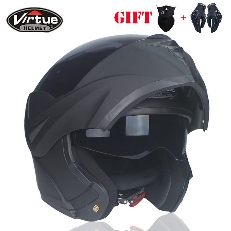 DOT Approved Best Quality Module Flip Motorcycle Helmet with Interior Sun Visor Full Face Racing Dual Lens Helmet VIRTUE-808