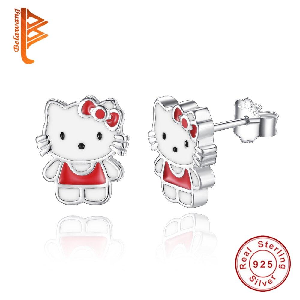 Fashion 925 Sterling Silver Red Enamel Pretty Kitty Cat Cartoon Stud  Earrings For Women Girls Jewelry