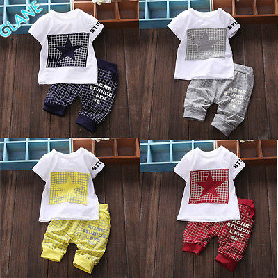 bd3aa85f7 2016 New Baby Boy Kid Short Sleeve STAR Sportswear Suit T-shirt Top Short  Pants Outfits Sports Suit For Baby Kids Boy Clothes