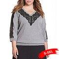 Plus Size V-Neck Lace Stitching Tee Half Sleeved Large Size Women'S Shirt