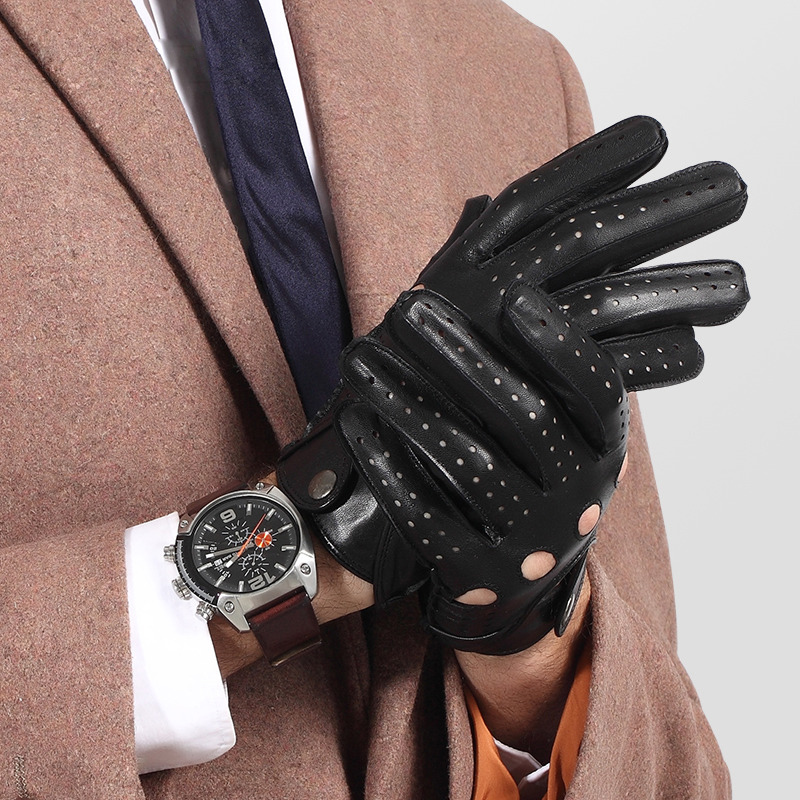 Genuine Leather Men Gloves Male Spring Autumn Thin Style Locomotive Driving Sheepskin Gloves Breathable Unlined 2520