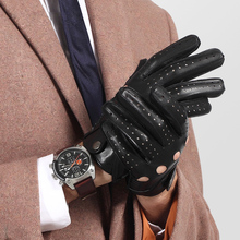 Genuine Leather Men Gloves Male Spring Autumn Thin Style Locomotive Driving Sheepskin Breathable Unlined 2520