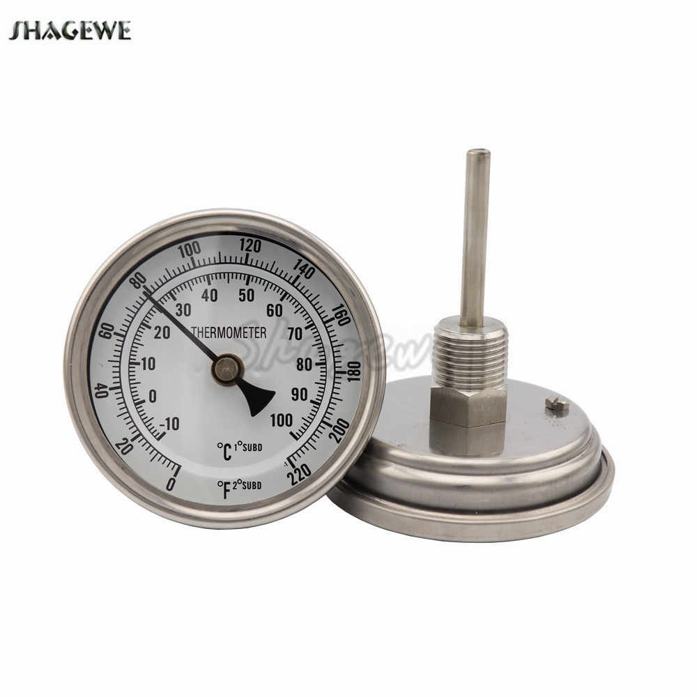 "Beer Brewing Weldless Bi-metal Thermometer Kit, 3""Face & 2""Probe, 1/2""MNPT, 0~220F degree, Homebrew Kettle Thermometer"