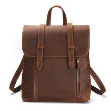 Men Women Backpack Genuine Leather Shoulder Back Bag Mini Packs Male Zipper Ipad Phone Pocket Business Tote Travel Mochilas