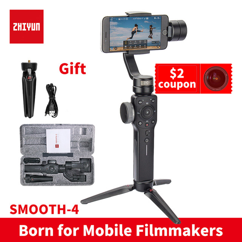 ZHIYUN smooth4 instock Smooth 4 3-Axis Handheld Gimbal Auto focus smartphone Stabilizer for iPhone Andrews Gopro Smooth Q zhiyun smooth q 3 axis handheld gimbal stabilizer for smartphone
