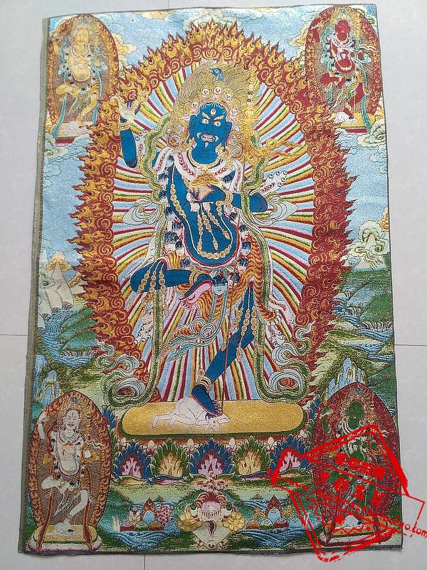 Chinese Buddhism Cloth Silk Tathagata Buddha Tangka Thangka Mural Painting 26548