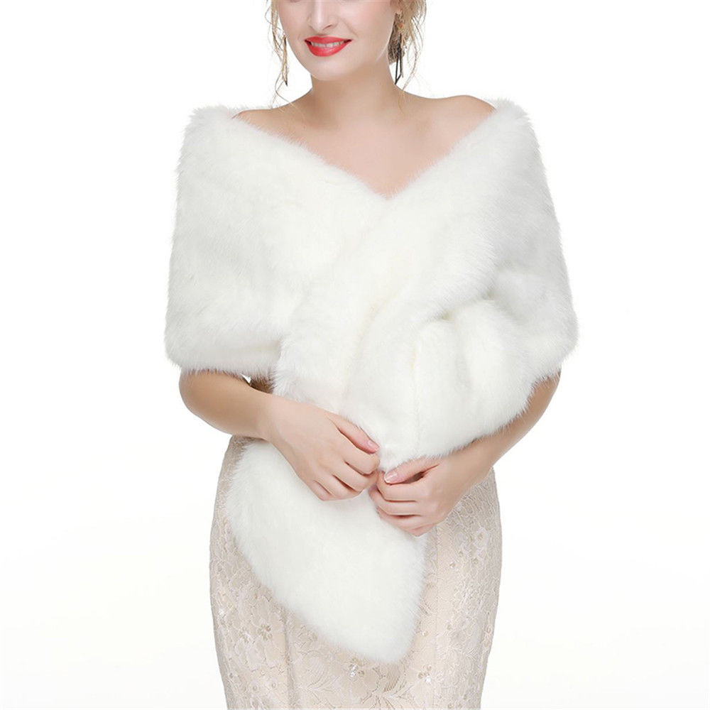 Купить с кэшбэком Winter Women Faux Fur Wedding Bridal Wrap Shawl Cape Bolero Shrug Warm Coat Wedding Accessories