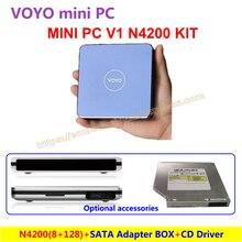 VOYO Mini PC V1 N4200 (8 ГБ DDR3L оперативной памяти + 128 ГБ SSD) Windows 10 карман ПК Intel с аксессуары