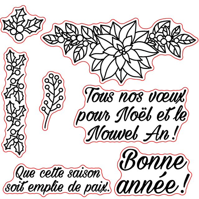 french happy new year transparent clear silicone stamp set for diy scrapbookingphoto album cards