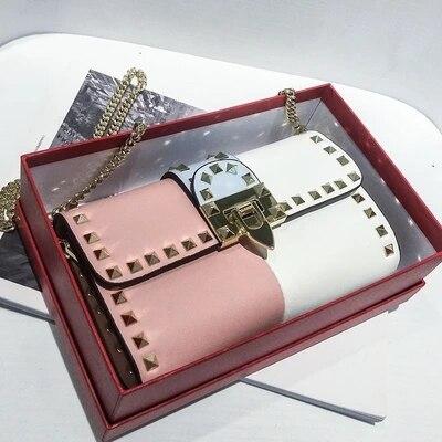 brandRivet chain mini mobile phone bag 2018 new hit color clutch bag lock single shoulder slung small square brand bag все цены