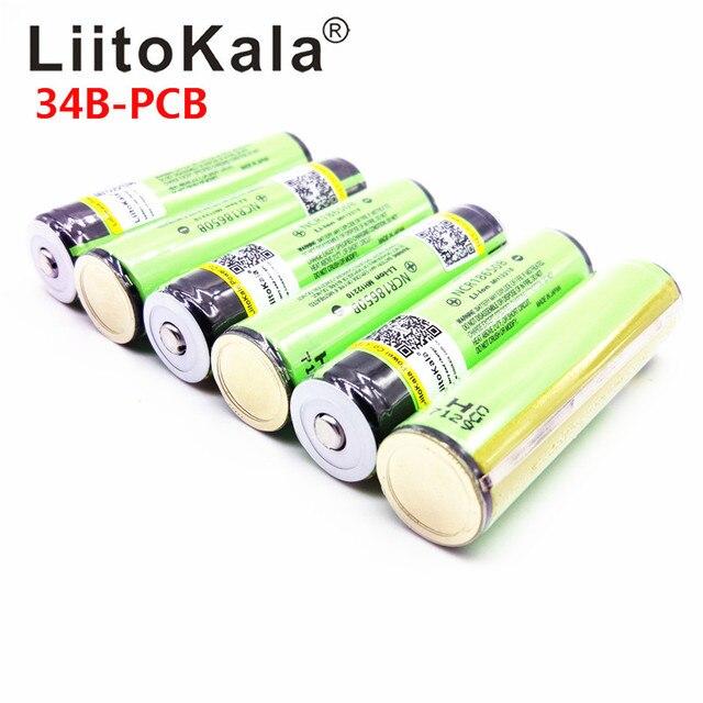 2019 New  LiitoKala For  NCR18650B 18650 3400mAh battery 3.7V Li-ion rechargeable battery PCB Protected+Free Shopping