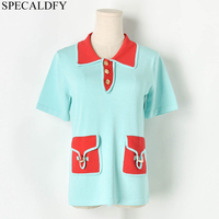 2019 Summer Ladies Knitted Tops Short Sleeve T shirt Runway Harajuku Kawaii Shirt Korean Fashion Pockets Tshirt Tee Shirt Femme