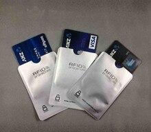 100 pçs/lote em branco Anti Furto RFID Mangas Protector RFID Bloqueio de Cartão de Crédito de Alumínio titular Escudo de Segurança frete grátis