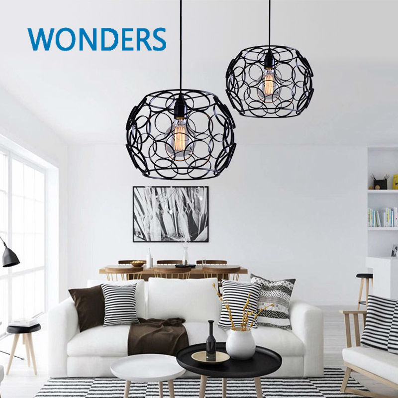 Modern Nordic metal simple ring Hollow-out Pedant Light Living Room Home Decoration Lantern Lamp ...