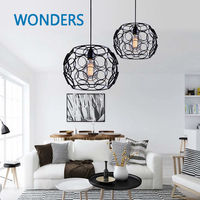 Modern Nordic Metal Simple Ring Hollow Out Pedant Light Living Room Home Decoration Lantern Lamp
