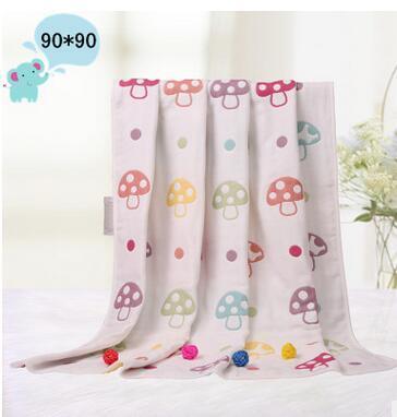 De alta qualidade! New cogumelo jacquard seis camadas de gaze de algodão crianças crianças cobertor do bebê recém-nascido cama toalha 90 * 90 cm
