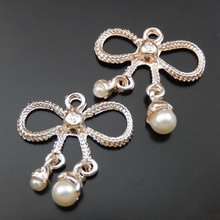 10PCS Women Cute Necklace Charms Rose Gold Alloy Bow Pendant Charm Fine Jewelry Making 23mm Hot Sale Korea Style Gift 39873(China)