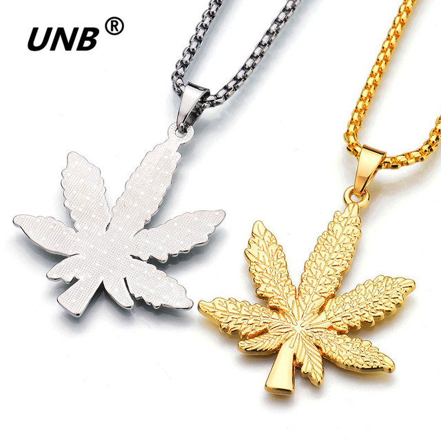 UNB 2017 New Gold Silver Plated Cannabiss Small Weed Herb Charm Necklace Maple Leaf Pendant Necklace Hip Hop Jewelry Wholesale 2