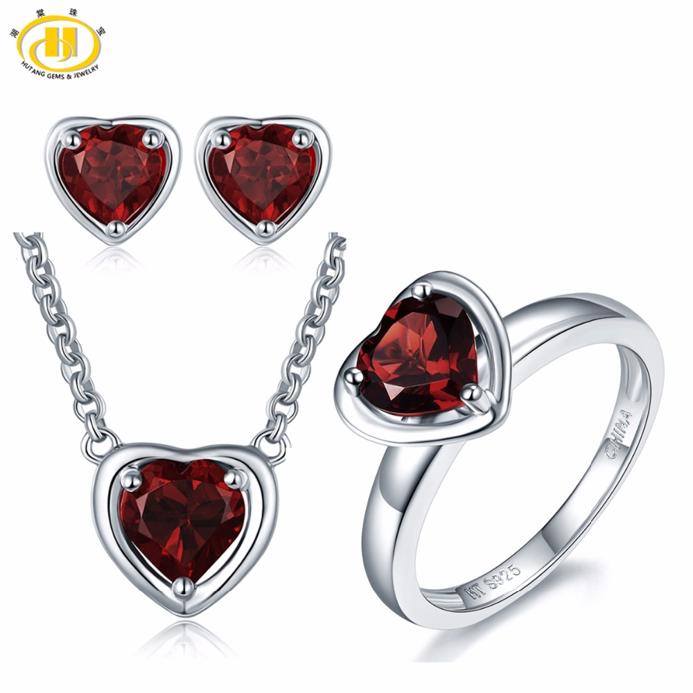 Hutang 3 88ct Natural Gemstone Garnet Solid 925 Sterling Silver Pendant Earrings Ring Fine Bridal Jewelry