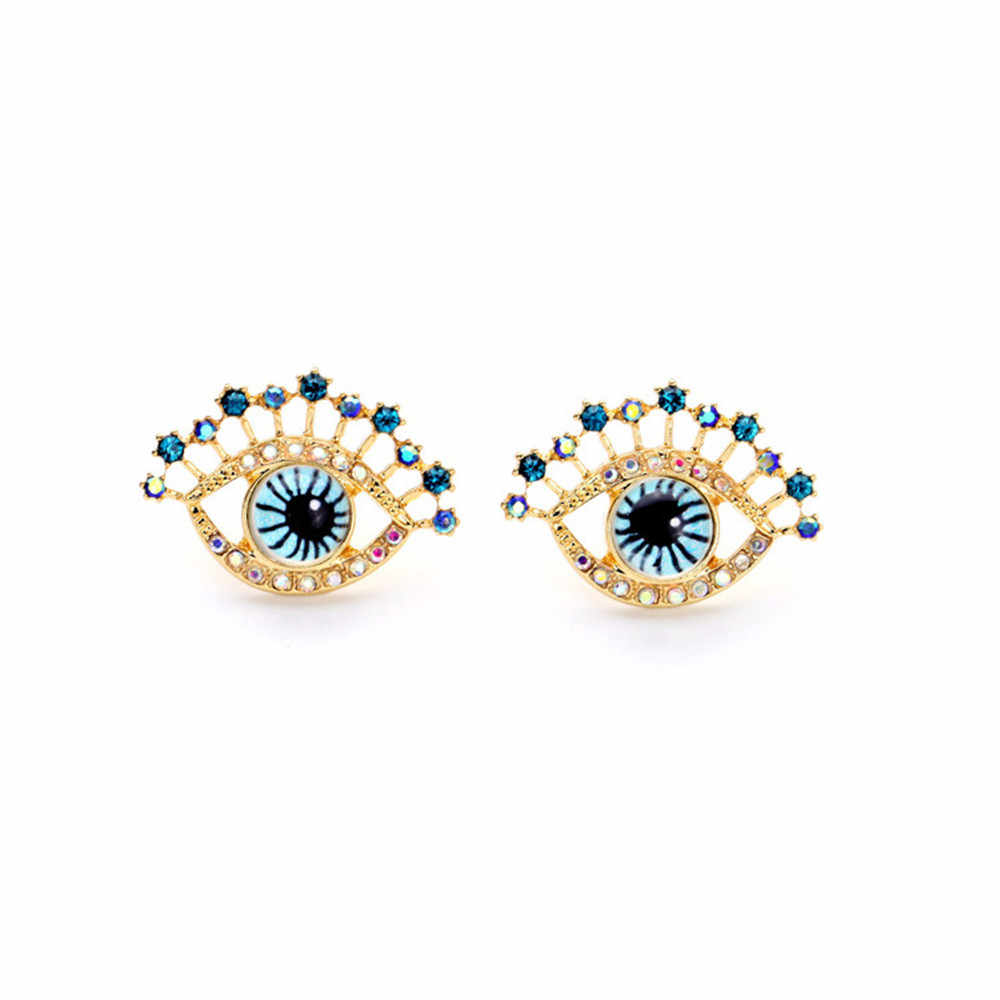 Fashion Simple Exquisite Cutout Engraving Eye Stud Earrings Women Sweet Personality Design Acrylic Rhinestone Earring Jewelry