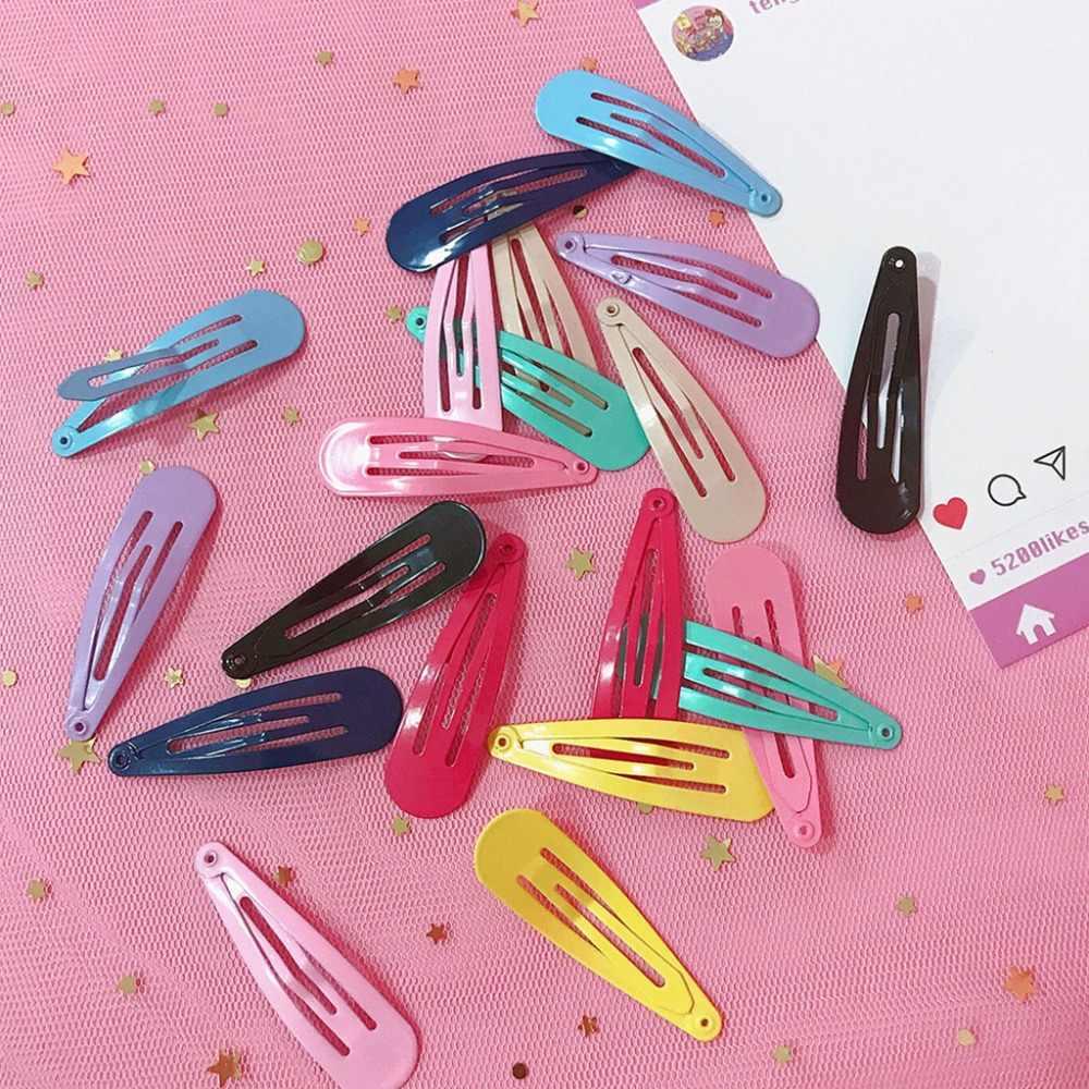 2 piezas 5 cm niños niñas dulce Color sólido pintura BB pelo Clips Metal aleación gelatina gotas Snap barrettes de fiesta antideslizante Casua