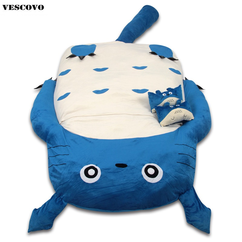 Baby Folding Lazy Sofa Bed Blue Green Grey Totoro Mattress Couch Cute Cartoon Sleeping Bags Mattress Cover