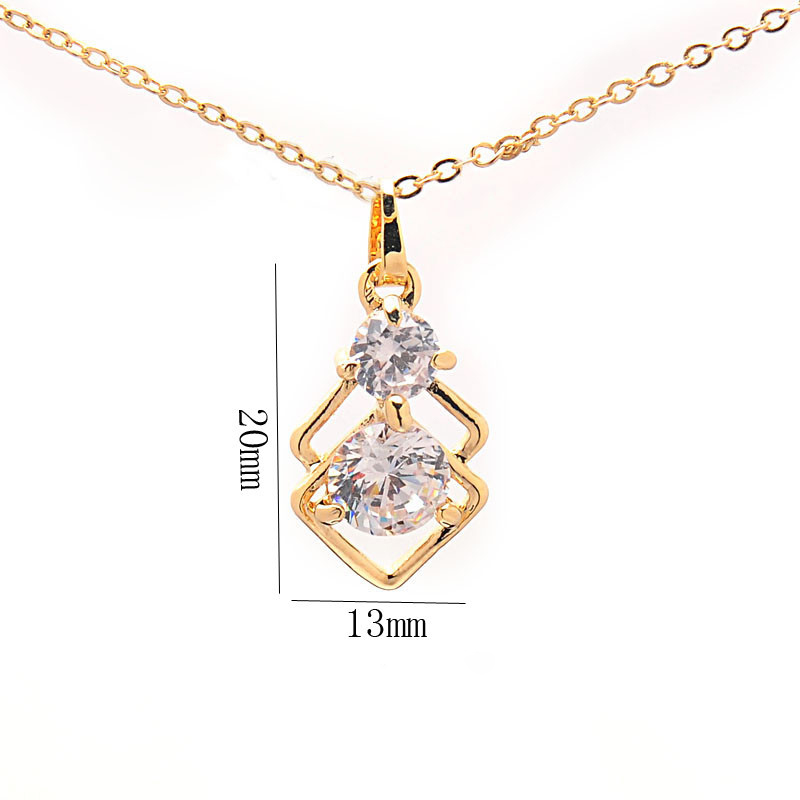 Elegant Wedding Crystal African Jewelry Sets for Women Gold Color Double Layer Square Pendant Necklace Earrings