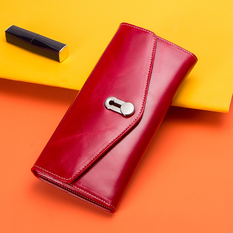 Image 5 - Contactss New Genuine Leather Clutch Wallet for Women Female Card Holders Coin Purse Zipper Money Bag Long Wallets CarteraWallets   -