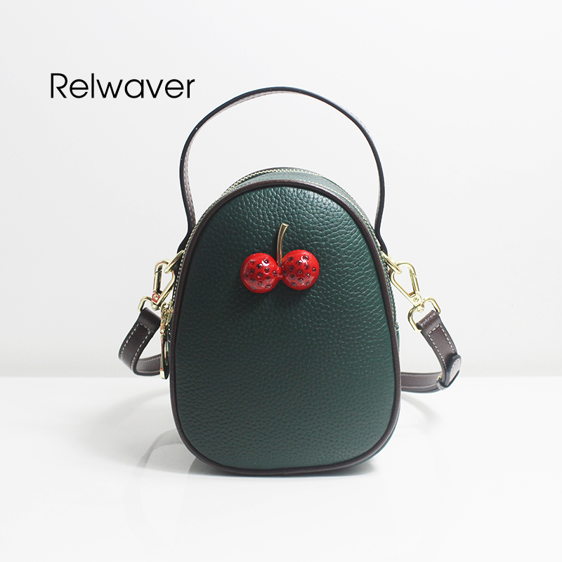 Relwaver Echt Leder Schulter Tasche Mini Schöne Umhängetaschen Für Frauen Ink Grün Kirsche Frauen Messenger Taschen Oval Frauen Tasche Schnelle WäRmeableitung