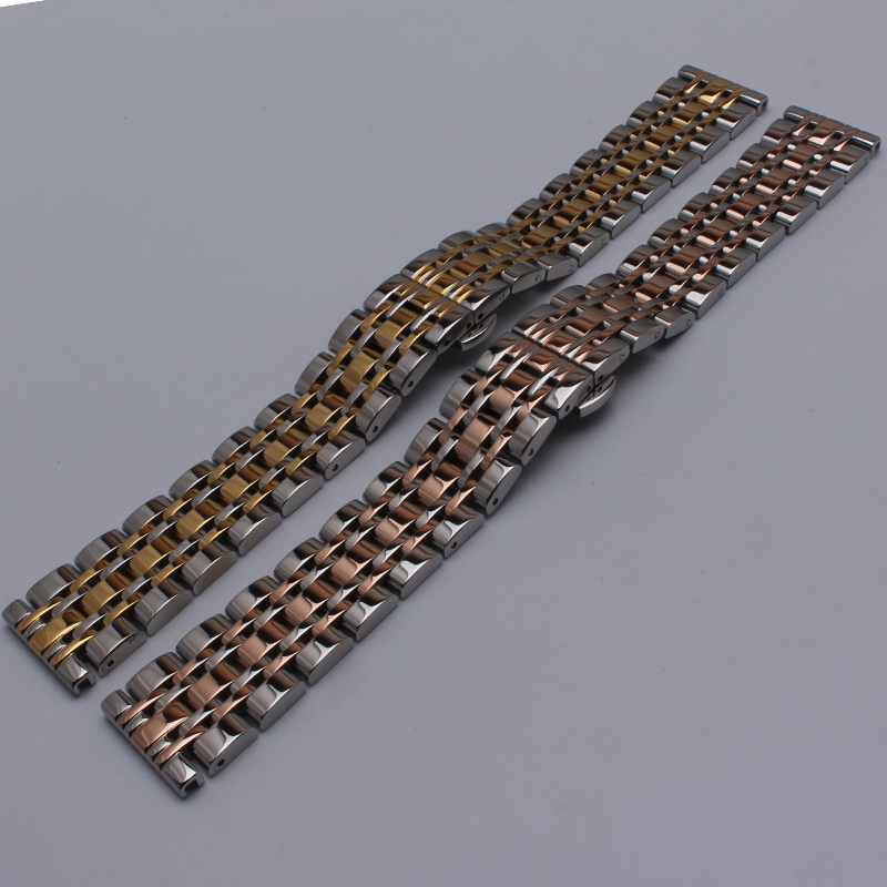Stainless bracelet steel solid metal watchband Butterfly buckle watch strap 18mm 20mm 22mm 24mm wristwatches band Gold silver top quality new stainless steel strap 18mm 13mm flat straight end metal bracelet watch band silver gold watchband for brand