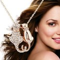 High-end de estilo Europeu e Americano de jóias do casal bonito do gato pingentes colar material KC Strass Ouro