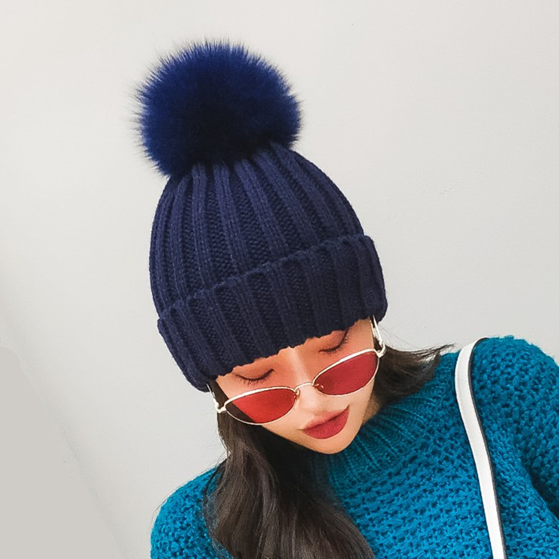 ozyc real fox fur pom poms ball Keep warm winter hat for women girl 's wool hat knitted beanies cap thick female cap mink and fox fur ball cap pom poms winter hat for kids girl s boys wool hat knitted beanies cap brand thick femal children cap