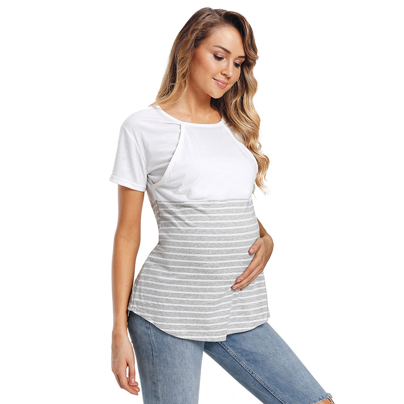 Women Maternity Long Sleeved Stripe Tops Mother Pregnant Nursing Baby Blouse Women Fashion Clothes in Tees from Mother Kids