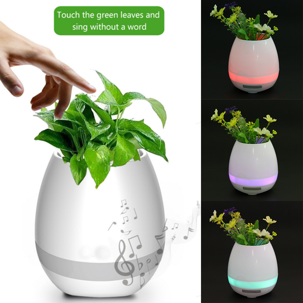 Wireless Bluetooth Speaker Portable Music Speaker Flower Plant Pot MP3 Player Loudspeaker with Colorful Nightlight for Office