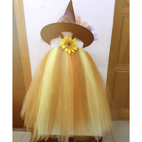 Girls Scarecrow Tutu Dress Vestidos Kids Sun Flower Halloween Costume Outfits For New Year Party Carnival