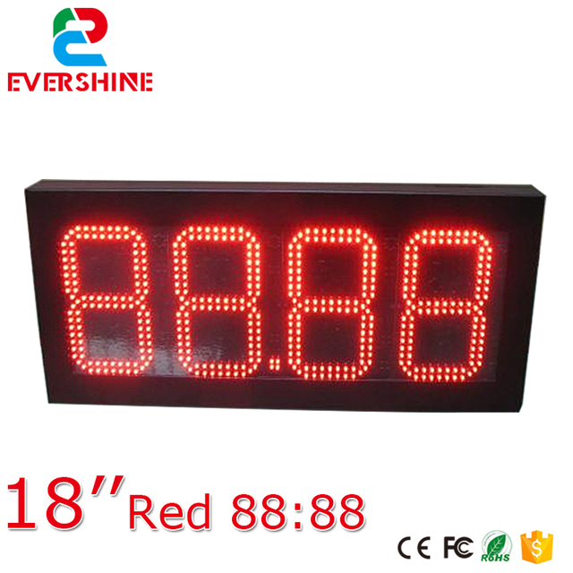 Led Large Red Digital 18 Inch 4 Digits 88 Wall Clock With Temperture Sign