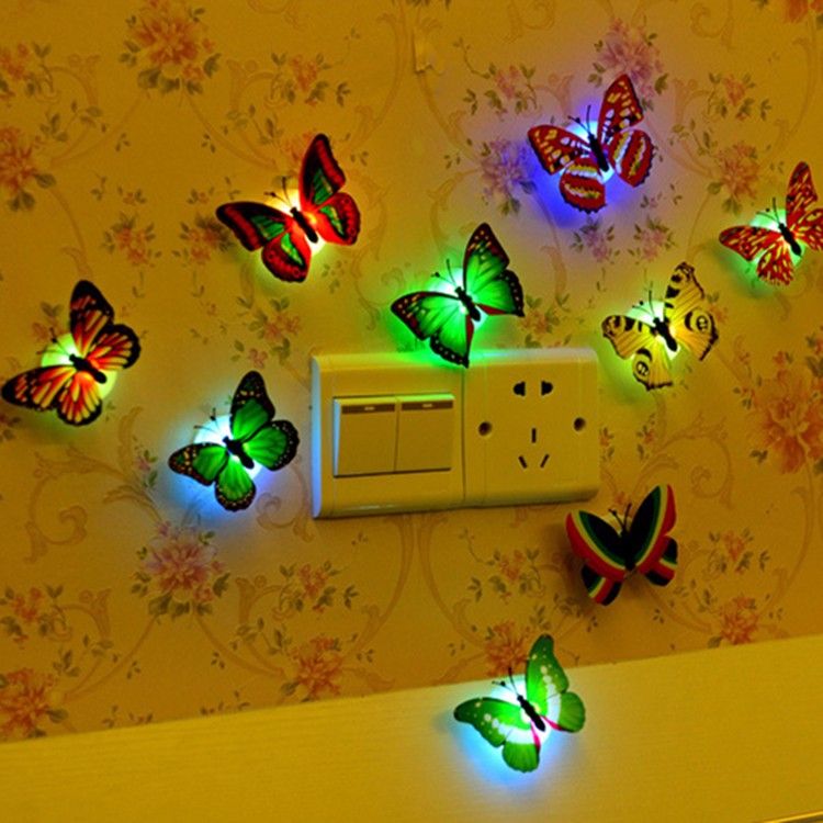 5pcs/lot Colorful Luminous Butterfly Night Light Home Room Party Wedding Decoration Lights Lamp With Sticker Children Kids Gift
