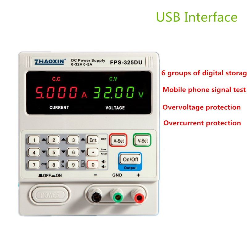 FPS-325DU DC Power Supply Adjustable 4 Digit Display 32V5A Notebook Repair Mobile Phone Signal Test With USB Interface cps 6011 60v 11a digital adjustable dc power supply laboratory power supply cps6011