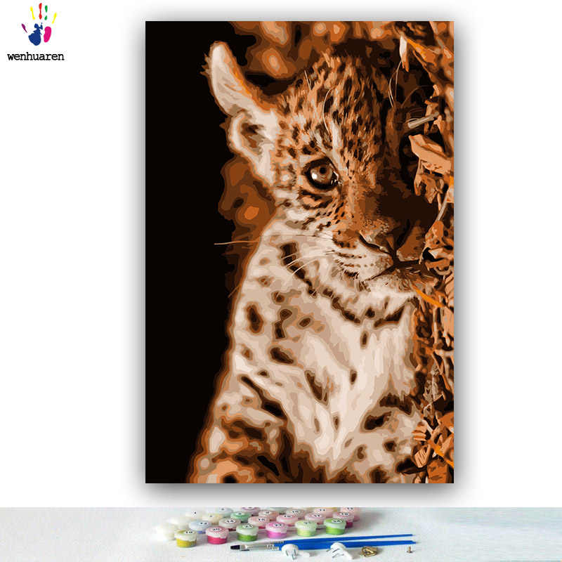 DIY colorings pictures by numbers with colors Tiger in the water Little leopard picture drawing painting by numbers framed Home