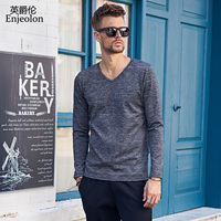 Enjeolon marka kaliteli v boyun uzun kollu t gömlek adam pamuk 2 colorsolid bankası Giyim Üstleri Tee ücretsiz gemi RST8065-1