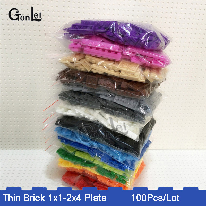 100Pcs/Lot 15 Colors Bulk Building Block Bricks For Kids Toys Mixed 8 Models Compatible With  Plate 1x1 1x2 1x3 1x4....2x4
