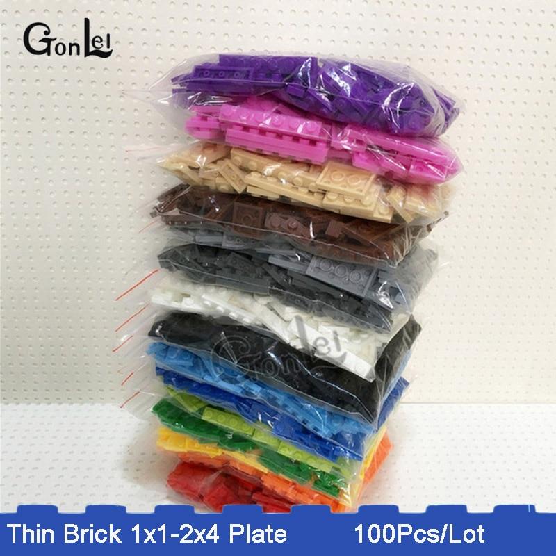 100Pcs/Lot 15 Colors Bulk Building Block Bricks For Kids Toys Mixed 8 Models Compatible with Plate 1x1 1x2 1x3 1x4....2x4