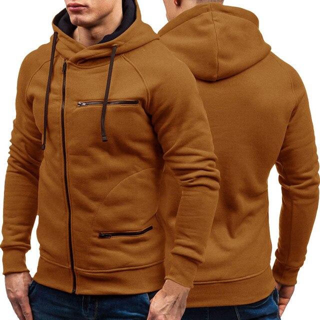 Herfst Winter Nieuwe Mens Hoodies Lange Mouw Rits Vest Hoodie Sweatshirt Mannen Casual Solid Hooded Sweatshirt M 3XL
